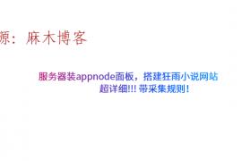 服务器装appnode面板,搭建狂雨小说网站,超详细!!! 带采集规则!