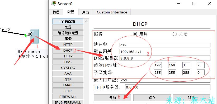 思科配置服务器DHCP服务使PC机可以自动获取ip地址,子网掩码,默认网关,DNS服务器。 DHCP实验 第3张